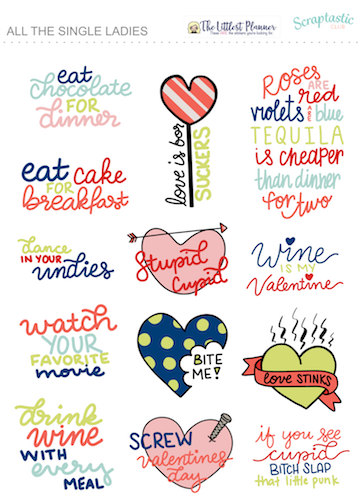 Anti Valentine's Day Planner Stickers
