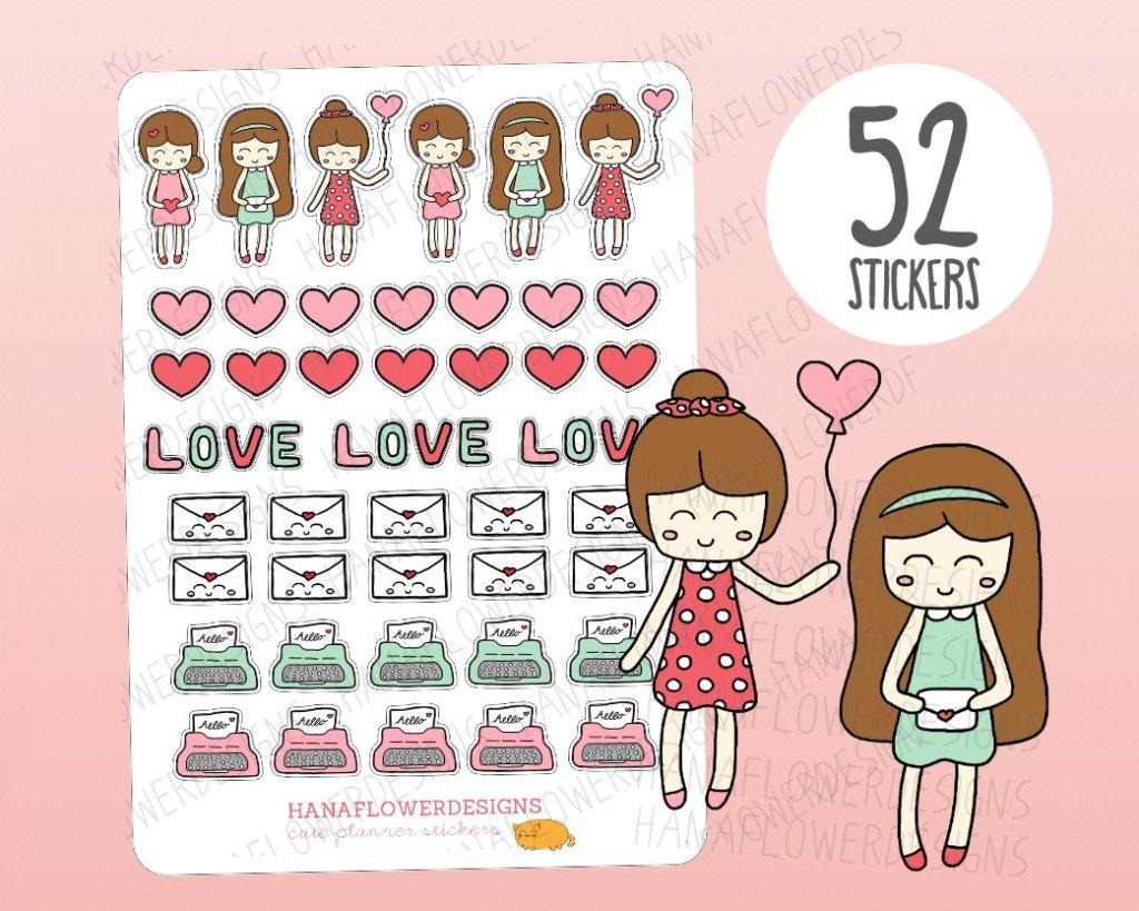 Kawaii Valentine's Planner Stickers