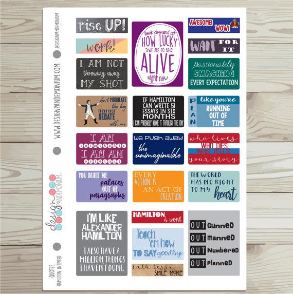 Design Pandemonium Hamilton Quote Stickers