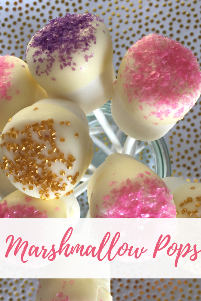 Glitter Marshmallow Pops are an easy and pretty last minute Easter treat! | Long Story Short with Megan and Wendy