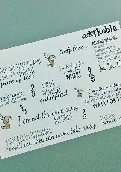 Studio Adorkable Hamilton Quote Stickers
