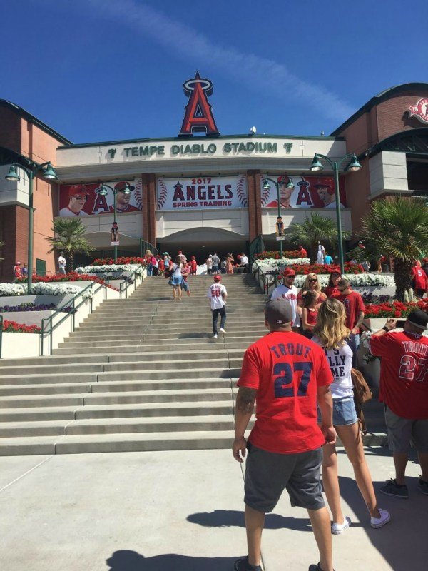 What to expect at Tempe Diablo Stadium for spring training baseball.   Long Story Short with Megan and Wendy