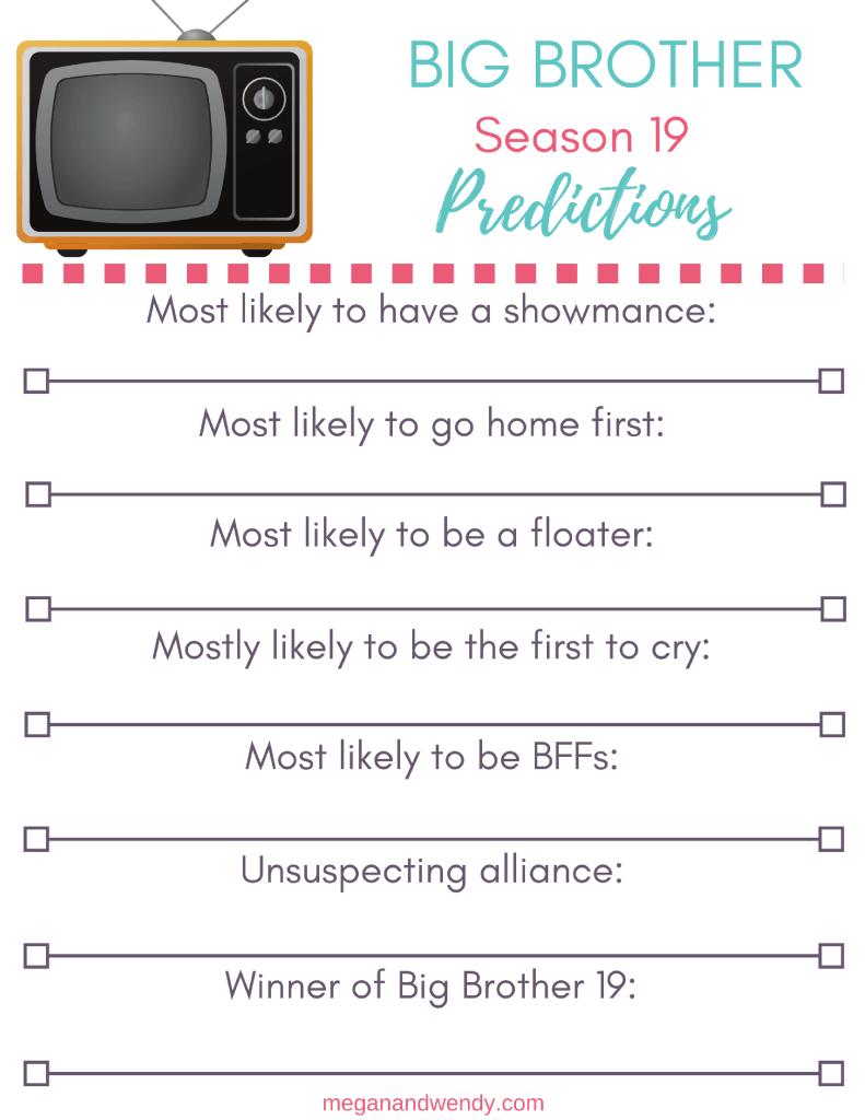 Big Brother Season 19 Predictions Printable