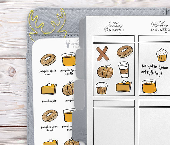 WhiteDeer Stationery Pumpkin Spice Planner Stickers
