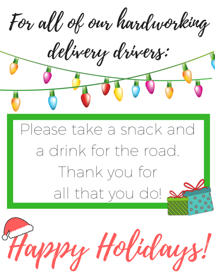 Looking for a way to say thank you to the delivery drivers who drop packages at your house this holiday season? We've got a really cute free printable with some ideas on how to show appreciation for those delivery drivers and others who make life a little easier for you. FREE PRINTABLE!