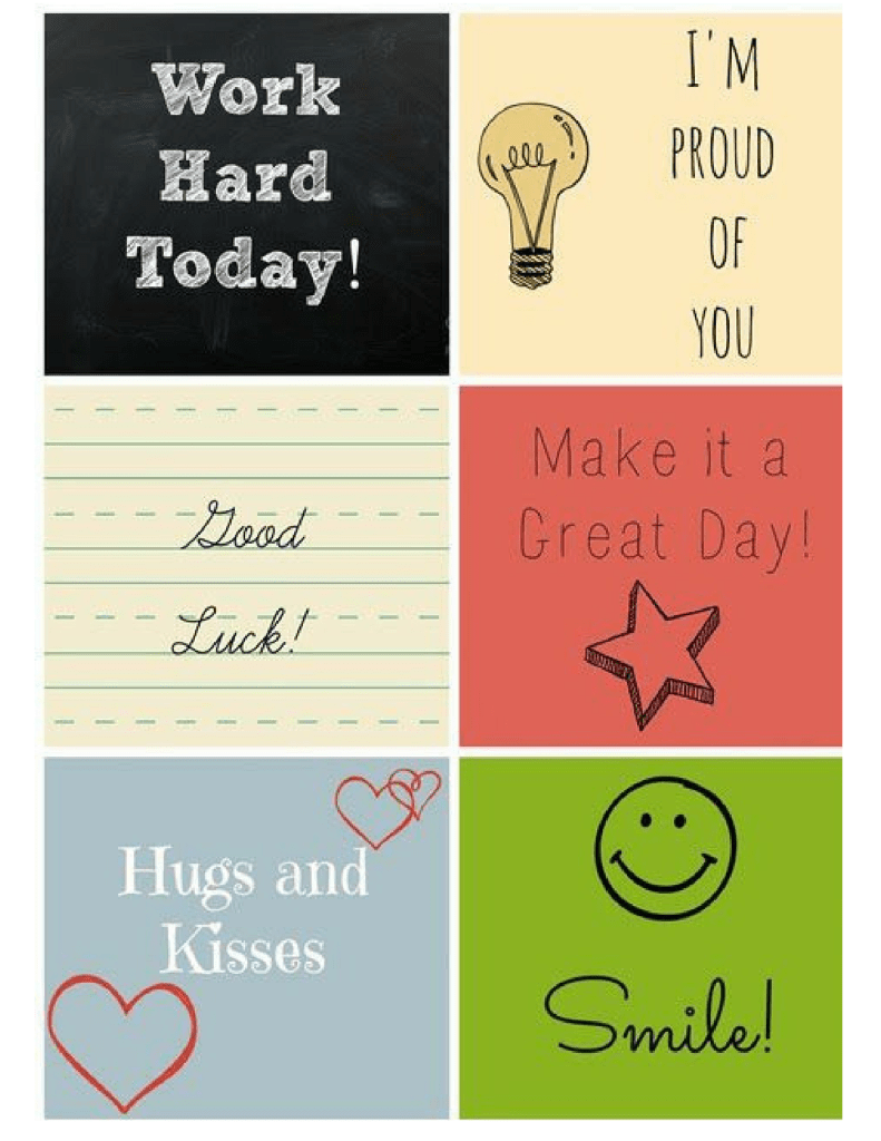 Lunch Box Notes Printable - Brighten the day of your favorite kid by including a small note in their lunch for camp or schoo!