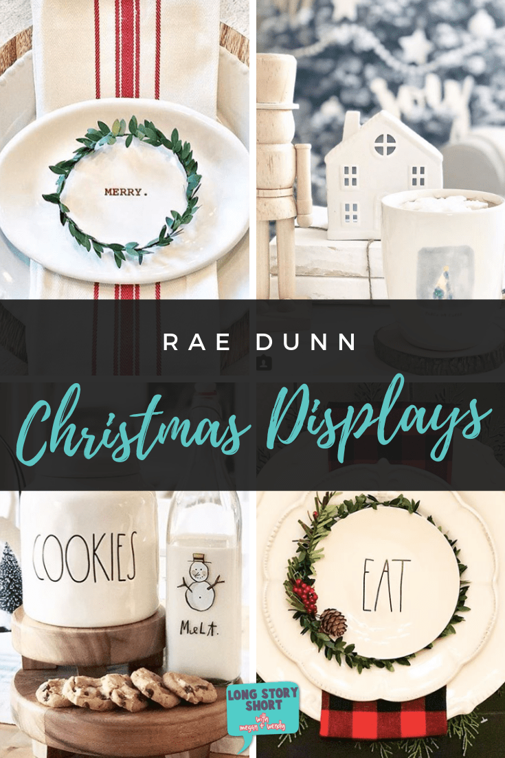 Looking for inspiration on how to display your Rae Dunn this holiday? Here's a round up of the most beautiful, favorite Rae Dunn Christmas displays. #RaeDunn #Christmas