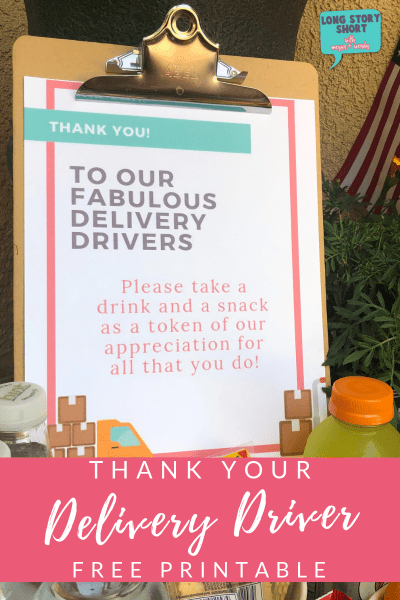 This small token of gratitude will likely go a long way! Say thank you to delivery drivers with some snacks and our free delivery driver printable sign.