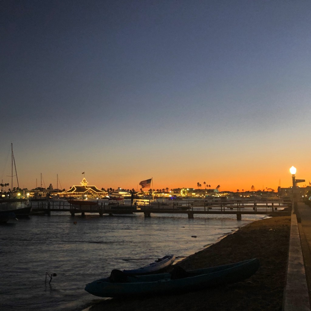 The Balboa Pavilion at dusk from the South Bayfront side of Balboa Island, Newport Beach, CA.