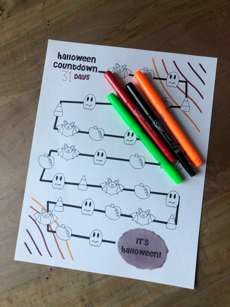 Have your kids countdown the days to Halloween with our free coloring page. Super easy for the littlest of artists.