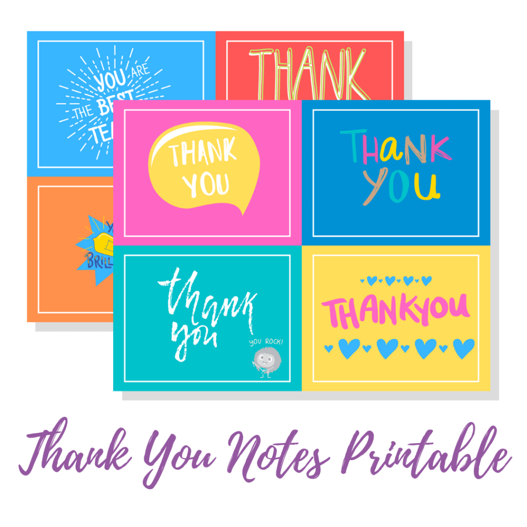 Long Story Short Subscriber Freebie - 8 Printable Thank You Notes for friends, teachers, mail carriers, family and more!
