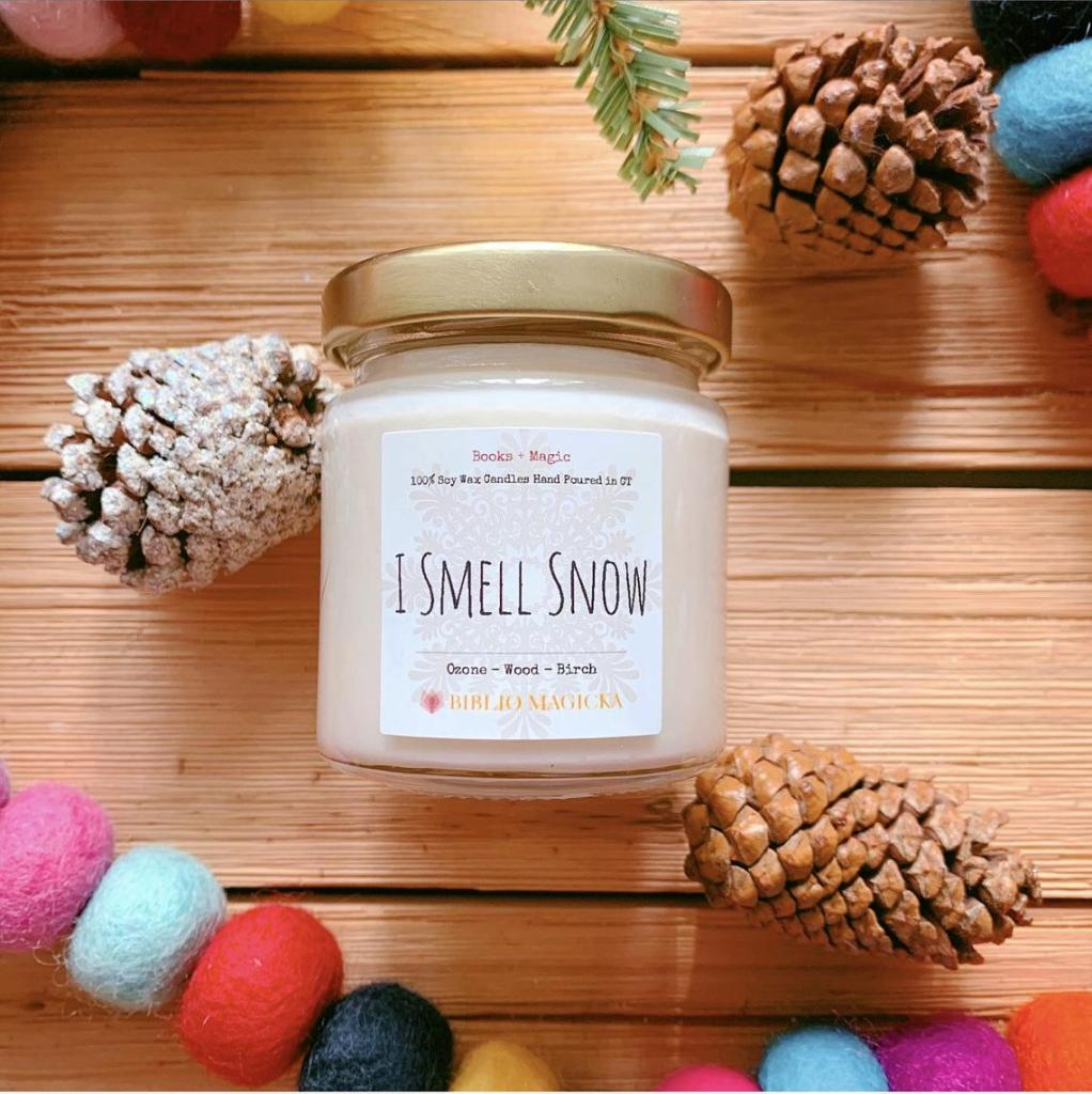 """""""I Smell Snow"""" candle from Etsy shop Biblio Magicka."""