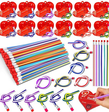 Bendy pencils are a throw-back favorite. Kids will go wild for these this Valentine's Day as an alternative to candy gifts.