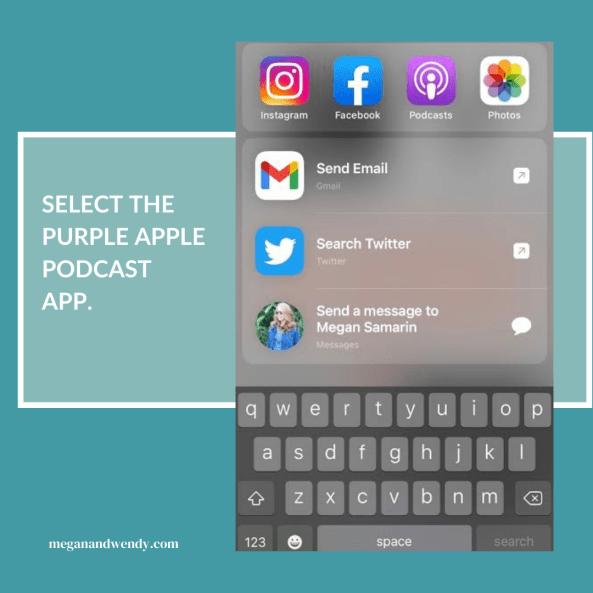 Leaving a rating and review is easy and tells other listeners that the podcast offers valuable content. Get started by selecting the purple Podcast App on your iPhone.