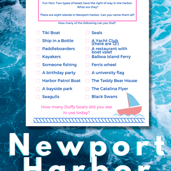 Newport Harbor Scavenger Hunt - If you're planning a trip to Orange County, make sure to rent a duffy on Newport Harbor and playing along with our scavenger hunt game.