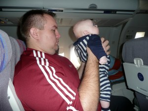 First plane ride... enthralled by the safety video.