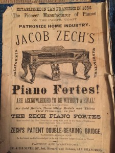 authentic advertisement for Zech Pianos