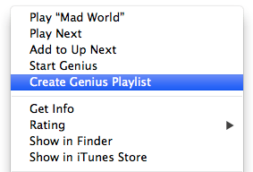 iTunes Genius menu