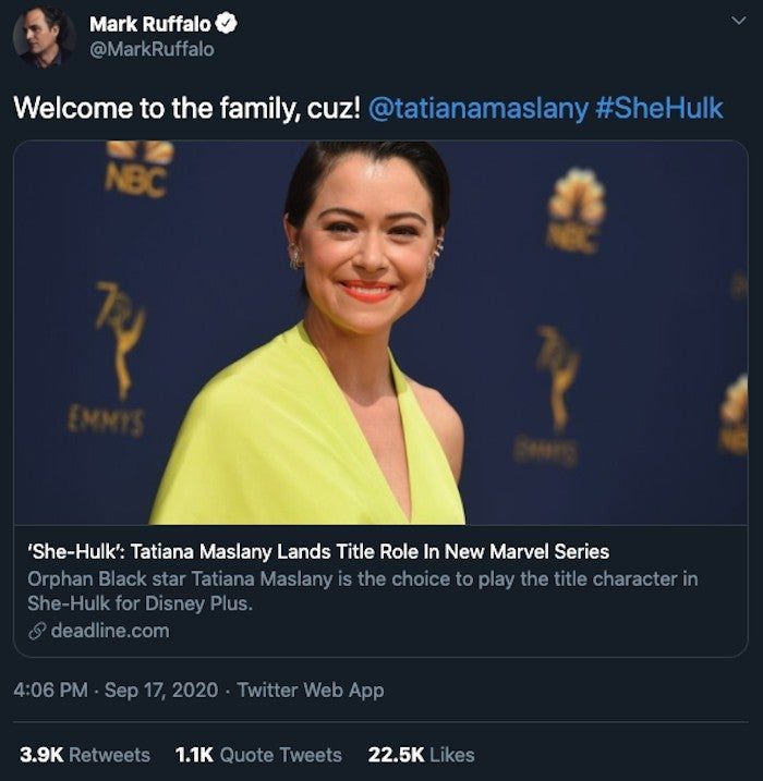 marvel-she-hulk-tatiana-maslany-mark-ruffalo-reaction-twitter-1237422