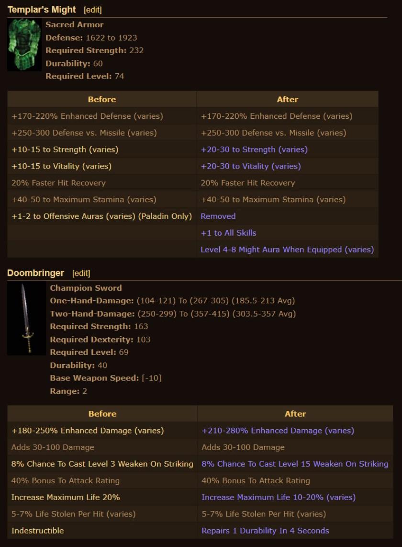 Diablo 2 New Items Rework