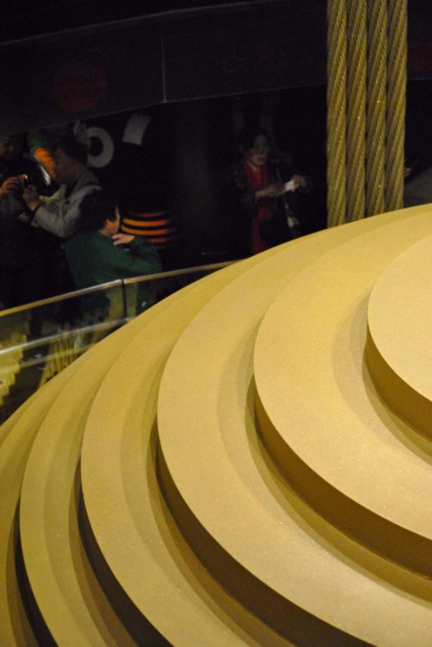 a close view of Taipei 101 gold painted wind damper