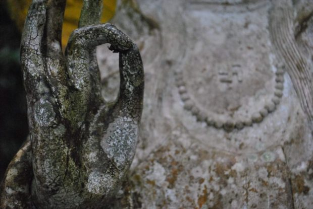 the hand of a female buddhist statue, covered in white and green lichen