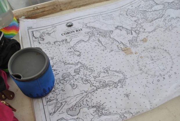 Waves, coffee and big maps - spills are inevitable, especially when table space is limited.