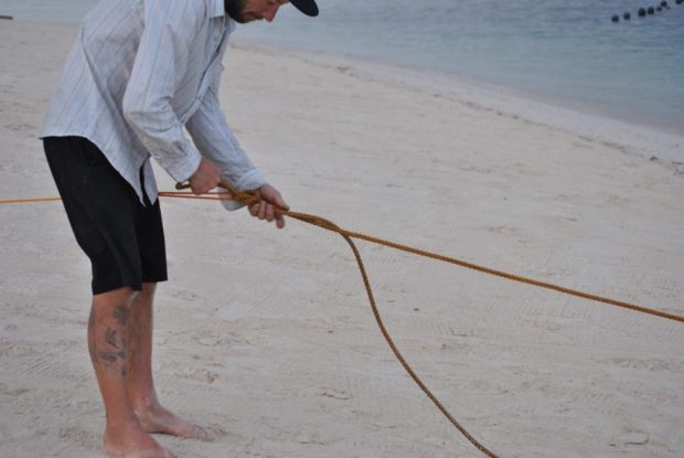 Tying one rope to another.