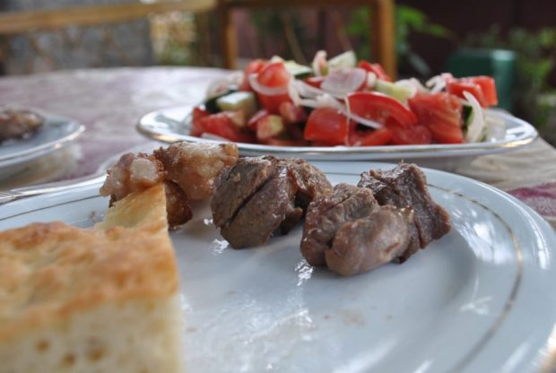 I hadn't been eating a lot of meat in Uzbekistan, which I enjoyed. But I also enjoyed this moment.