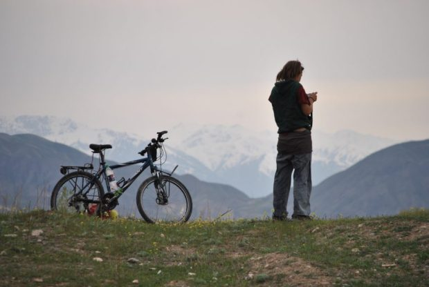 Surveying our first campspot in Kyrgyzstan.