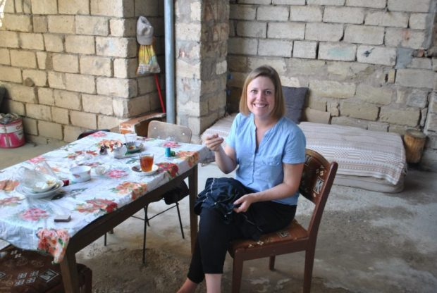 Look I can sew! Here I'm posing in the living, eating and vodka drinking area of the home.