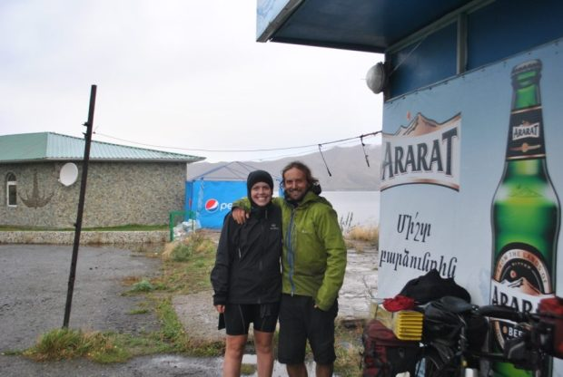 Reunited with Evan at Lake Sevan, Armenia on our way to NKR by bicycle.