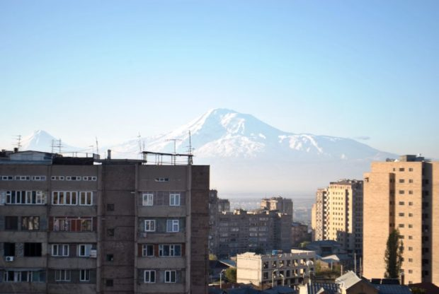 Time to continue west and seek out views of Mt. Ararat's western flank. Here's the view from Yerevan, Armenia.