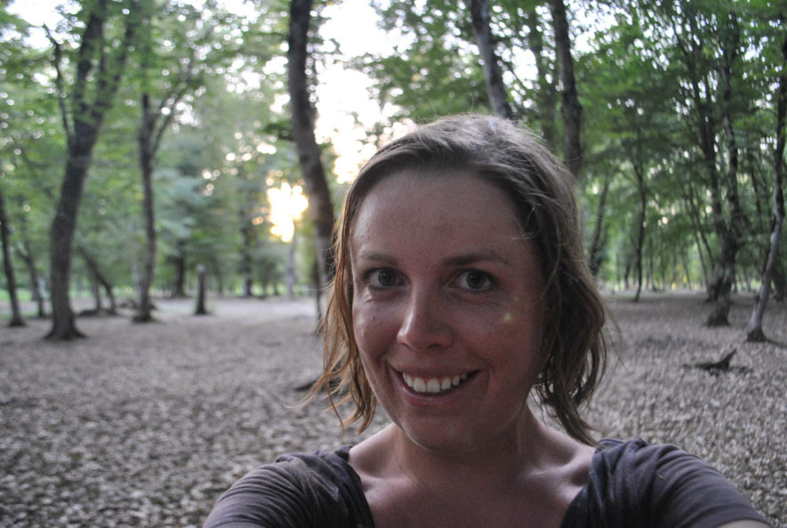 Me in a forest with lots of dry fallen leaves in northern Azerbaijan