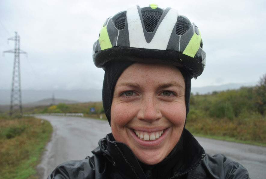 Me cycling in my rain gear in Nagorno-Karabakh on a rainy day