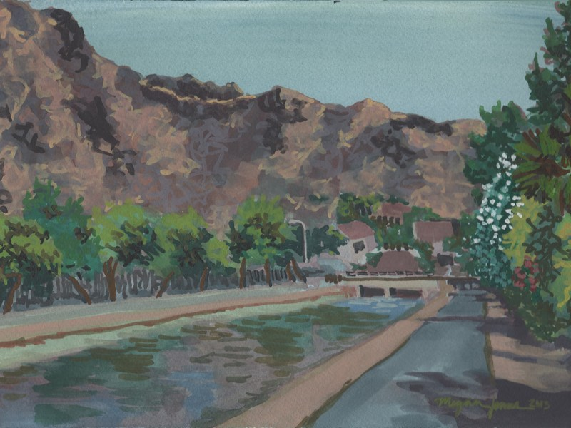 Watercolor painting of Piestewa Peak from the Arizona Canal Trail.