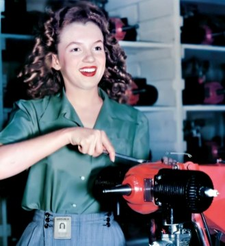 Norma Jeane photographed by David Conover whilst working at the Radio Plane Munitions Factory in either the Fall of 1944 or Spring of 1945.