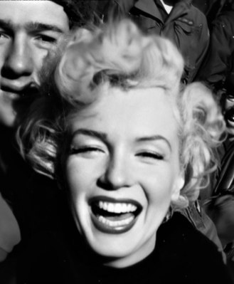 Marilyn in Korea visiting the Troops in February 1954.