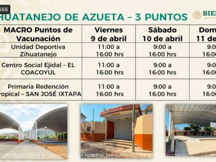 Horarios oficiales para vacunación contra COVID19 en Zihuatanejo