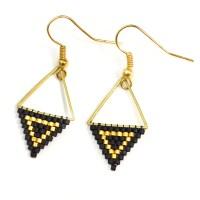 Black and Gold Drop Earrings - Megan Petersen Jewelry