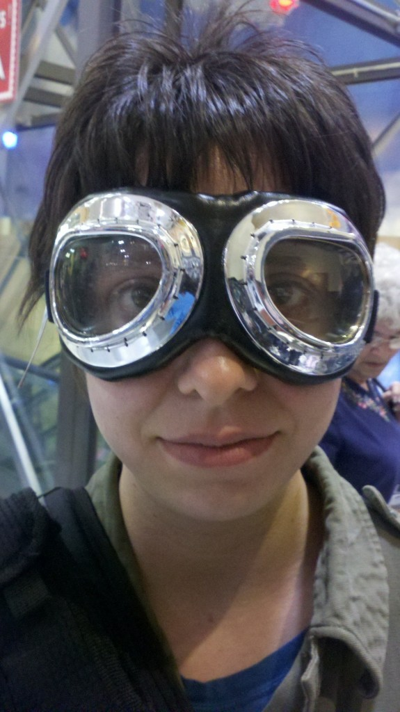 Trying on aviator goggles at the Air and Space Museum in DC.