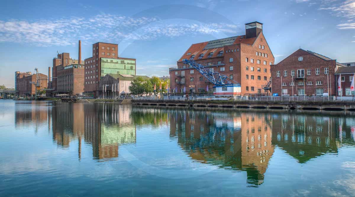 Panorama Duisburg Innenhafen als Wandbild auf Leinwand und