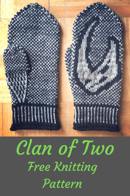 Clan of Two knitted mittens