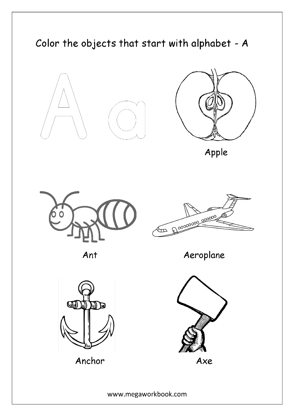 Free English Worksheets Alphabet Picture Coloring Megaworkbook