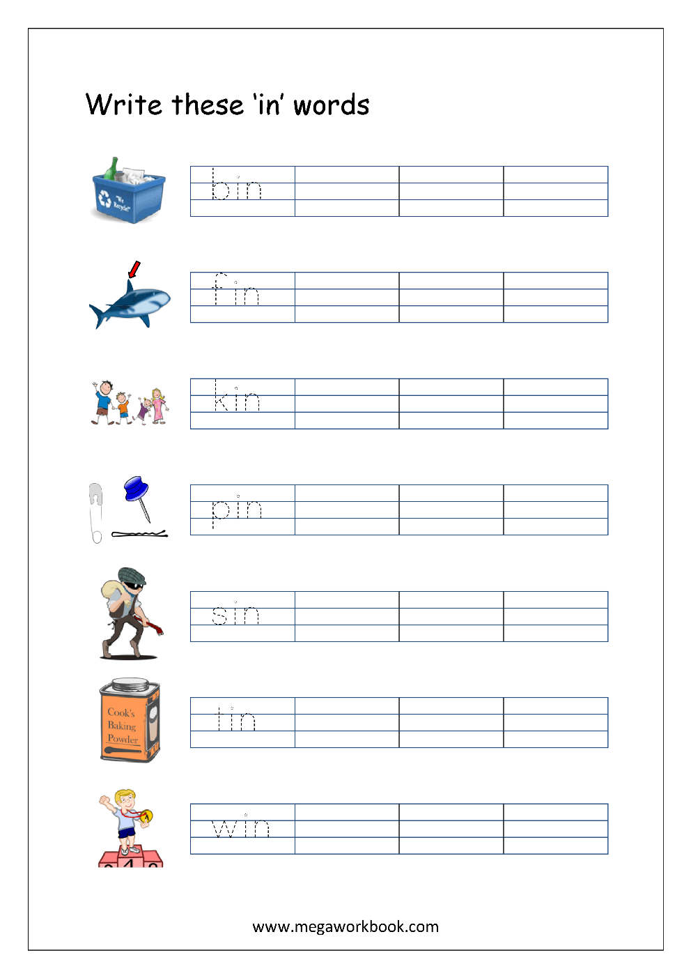 medium resolution of Free Printable CVC Words Writing Worksheets For Kids - Three Letter Rhyming  Words For Kindergarten - MegaWorkbook