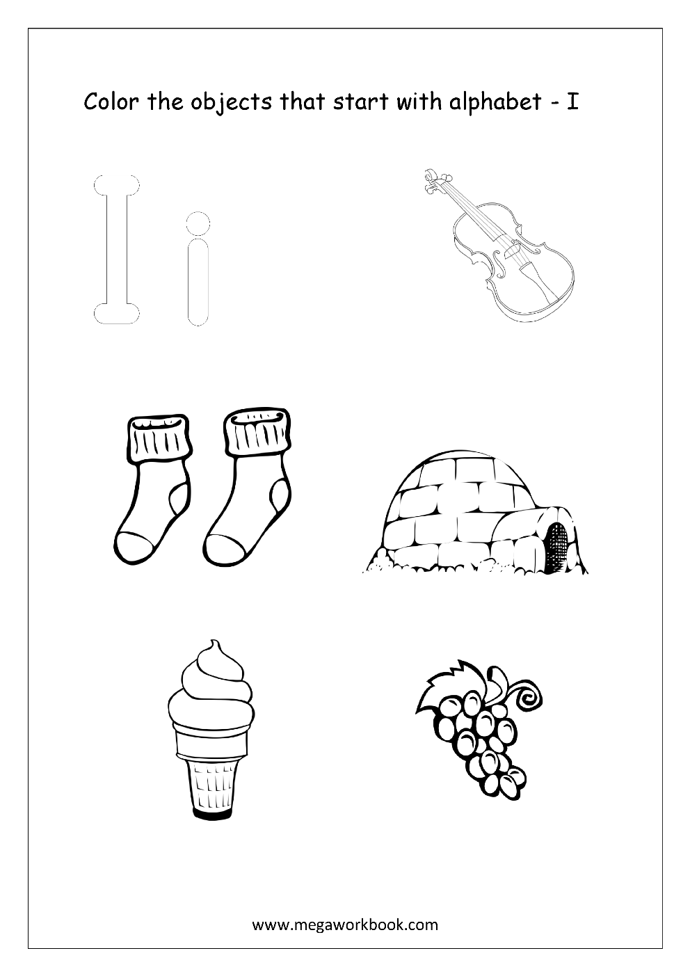 Objects That Start With The Letter B Coloring Page Sketch