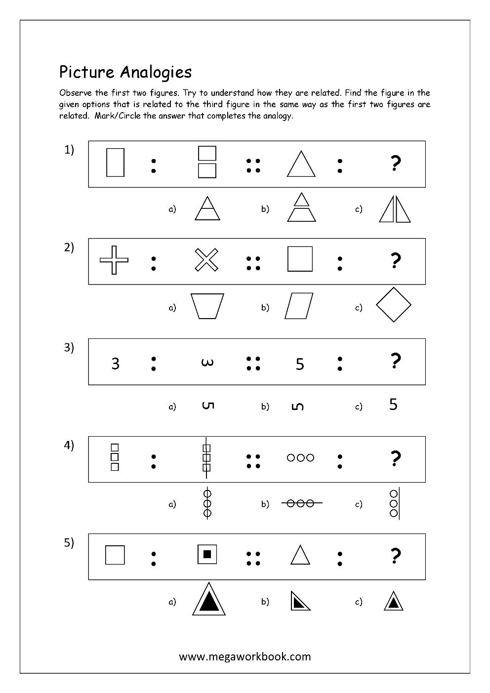 hight resolution of Free Printable Picture Analogy Worksheets - Logical Reasoning - MegaWorkbook