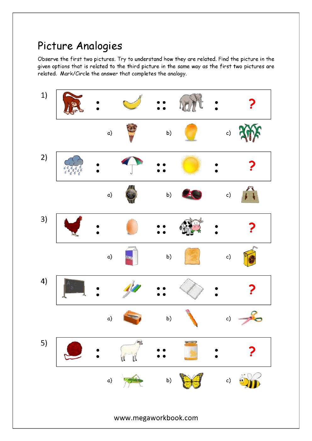 medium resolution of Free Printable Picture Analogy Worksheets - Logical Reasoning - MegaWorkbook