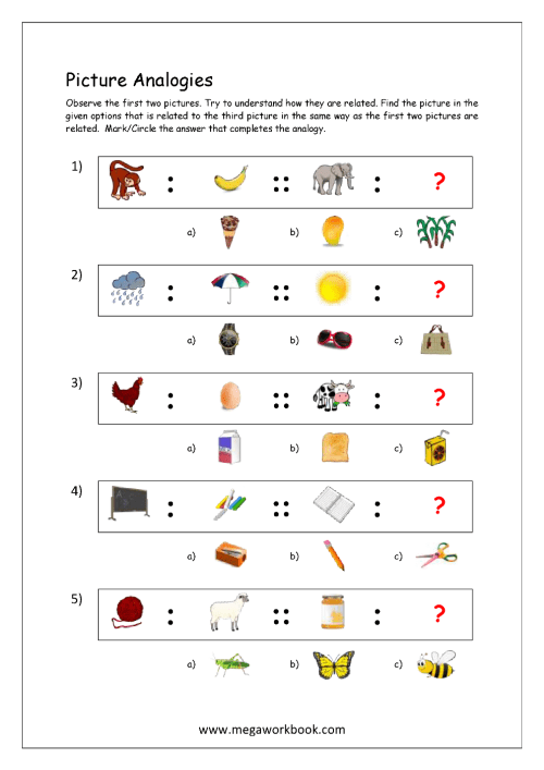 small resolution of Free Printable Picture Analogy Worksheets - Logical Reasoning - MegaWorkbook