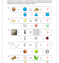 Free Printable Picture Analogy Worksheets - Logical Reasoning - MegaWorkbook [ 1403 x 992 Pixel ]
